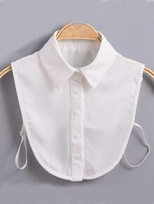 White Lapel Buttons Chiffon Collar
