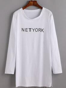 White Long Sleeve Letters Print Split Tee Dress