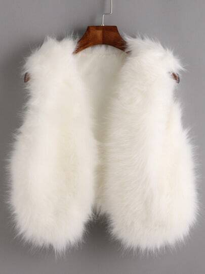 White Faux Fur Crop Vest