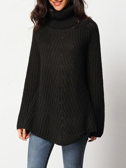 Black Turtleneck Long Sleeve Chunky Sweater
