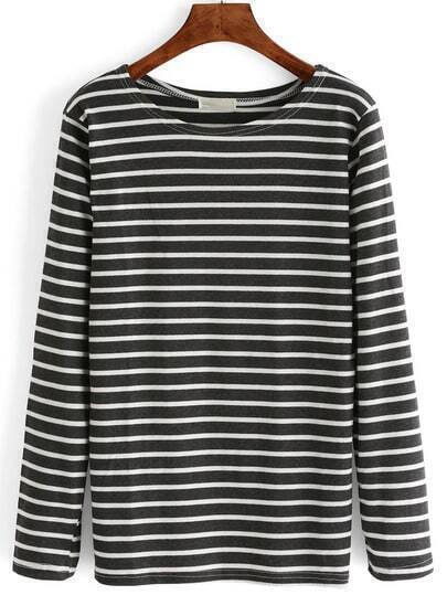 Grey White Elbow Patch Striped T-Shirt