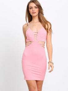 Pink Spaghetti Strap Hollow Out Bodycon Dress