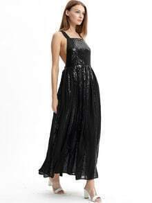 Black Strap Criss Cross Back Sequined Maix Dress