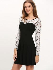 Black Crew Neck Contrast Crochet Dress
