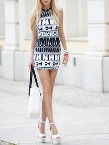 Black and White Sleeveless Geometric Print Bodycon Dress