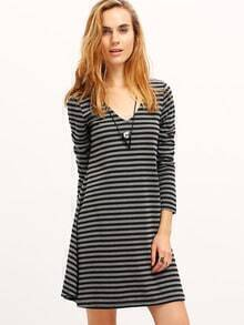 Grey Striped T-shirt Dress