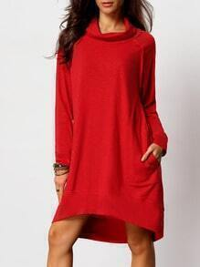 Red Cowl Neck Sweatshirt Dress