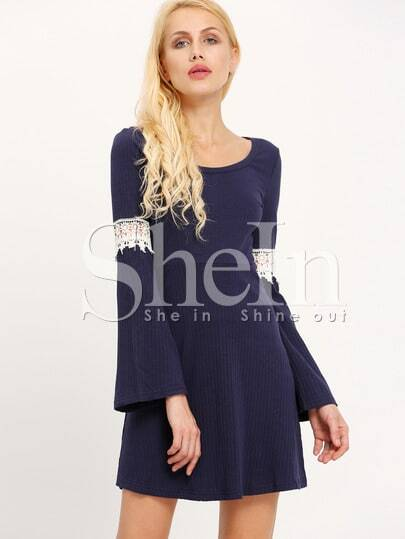 Navy Scoop Neck Contrast Crochet Ribbed Dress pictures