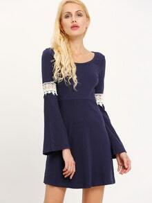 Navy Scoop Neck Contrast Crochet Ribbed Dress