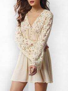 Apricot Deep V Neck Lace Embroidered Dress
