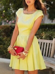 Yellow Cap Sleeve Square Neck Pouf Dress