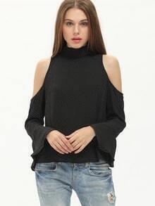 Black Embellished High Neck Cold Shoulder Blouse
