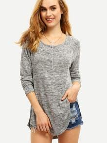 Grey Wide Neck Side Split T-Shirt