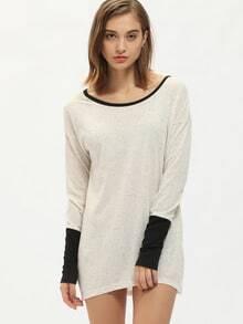 T-Shirt Rundhals Langarm - beige