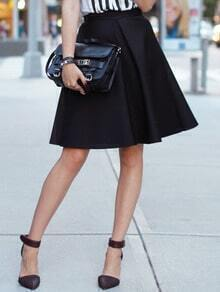 Black High Waist Flare Skirts