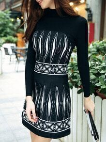 black round neck long sleeve knit dress sheinsheinside