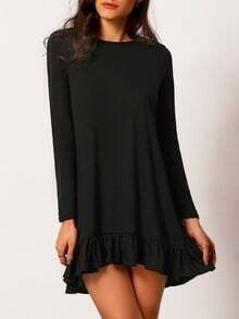 Black Ruffle Hem Tshirt Trapeze Dress