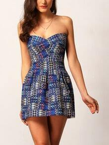Blue Semi-Sweetheart Neck Tribal Print A-Line Dress