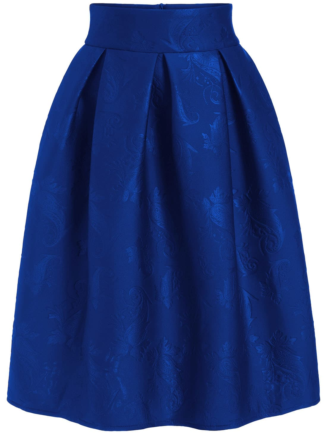 royal blue jacquard flare midi skirt shein sheinside