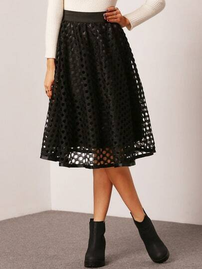 Black Elastic Waist Hollow Out Flare Skirt