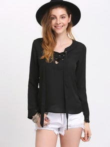 Black Lace Up Chiffon Blouse