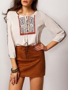 White Dip Hem Embroidered Lace Up Blouse