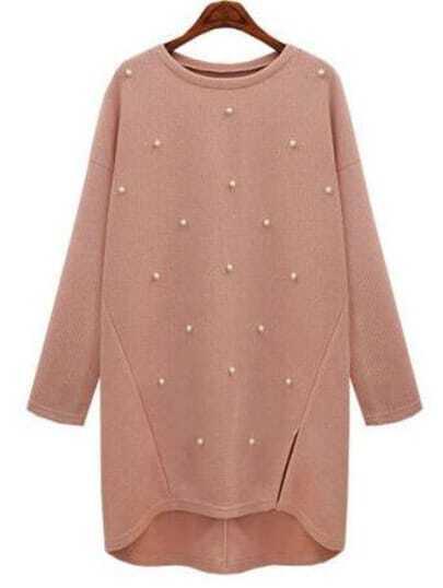 Pink High Low Split Side Beaded Sweater