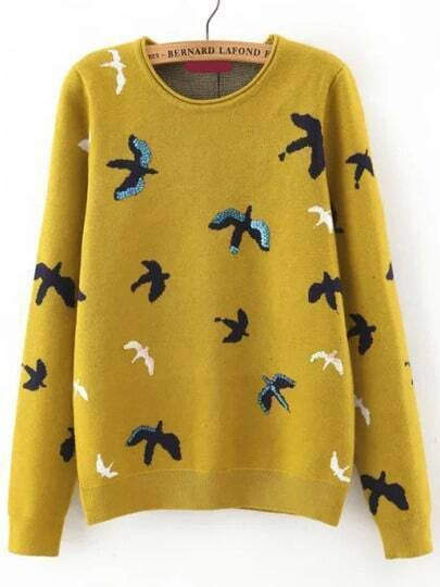 Yellow Crew Neck Sequined Bird Print Sweater