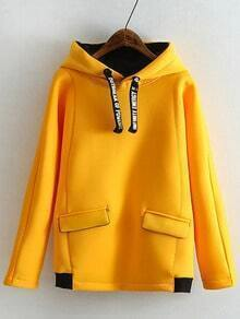 Yellow Drawstring Hooded Loose Sweatshirt
