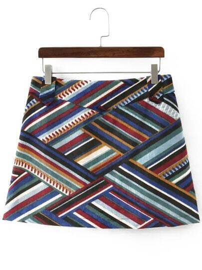 Colour Geometric Print Corduroy Skirt