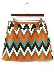 Colour Wave Pattern Corduroy Skirt
