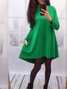 Green Crew Neck Dip Hem Blouse