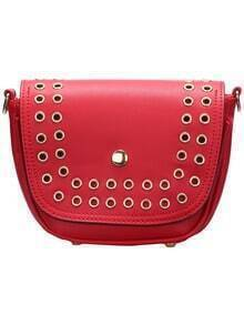 Red Magnetic Eyelet Cross Body Bag