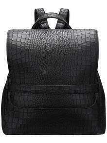 Black Croco Style PU Backpack