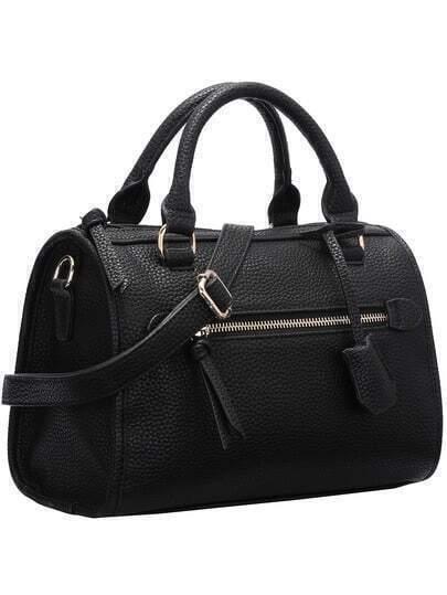 Black Zipper Embellished PU Bag
