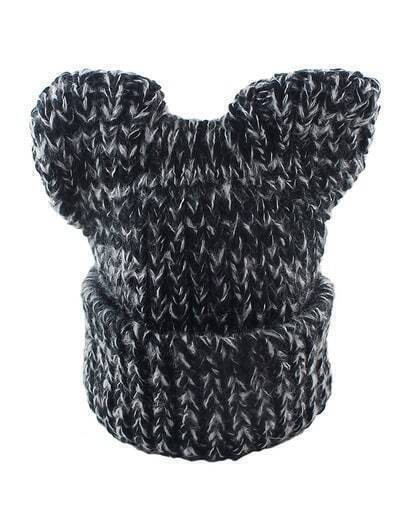 Black Trendy Winter Knitted Hat
