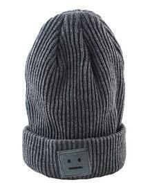 Tide Fashion Gray Big Popular Autumn And Winter Thick Stick Needle Face Knitting Hat