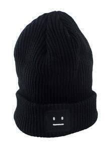 Tide Fashion Black Big Popular Autumn And Winter Thick Stick Needle Face Knitting Hat