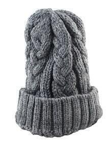 Woolen Grey Knitted Winter Hat