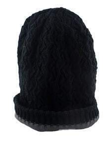 Woolen Black Knitted Beanie Hat