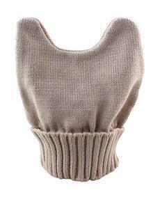 New Model Khaki Woolen Knitted Ears Shape Fancy Beanie Women's Hat