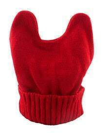 Red Knitted Ears Beanie Hat