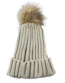 Bonnet en laine avec pompon tendance -beige