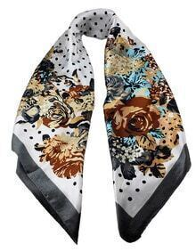 Fashion Gray Flower Print Chiffon Scarves For Women Apparel Accessories