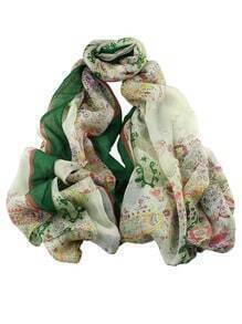 New Fashion Voile Green Flower Printed Women Scarf