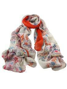 Orange Flower Printed Scarf