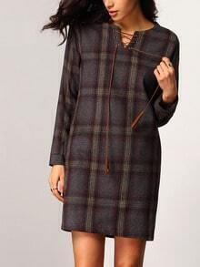Grey Long Sleeve Plaid Lace Up Dress