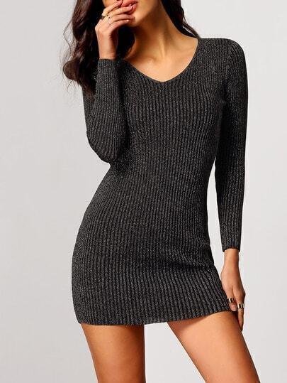Grey V Neck Rib Bodycon Dress