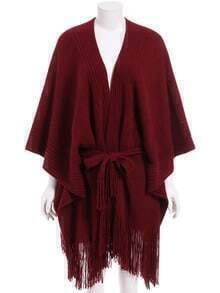 Red Tie-Waist Tassel Cape Sweater