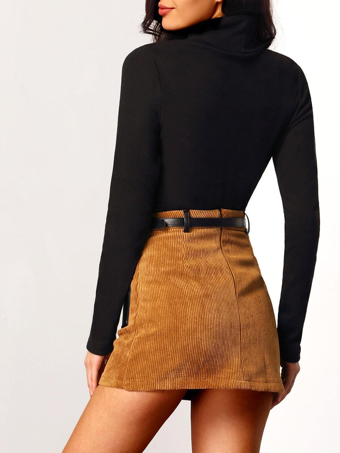 Black turtleneck long sleeve slim t shirt shein sheinside for Long sleeve black turtleneck shirt